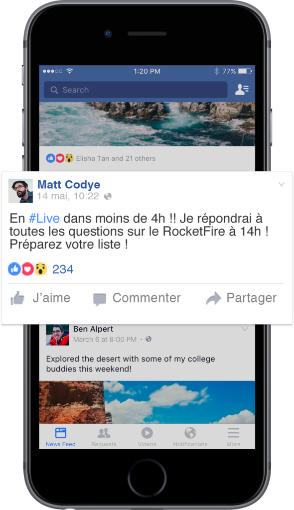 Visuel Post de teasing Live Facebook