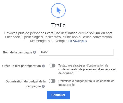 objectif trafic facebook
